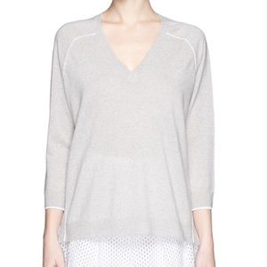 J Crew Vneck Merino Wool Tipped Side Panel Sweater